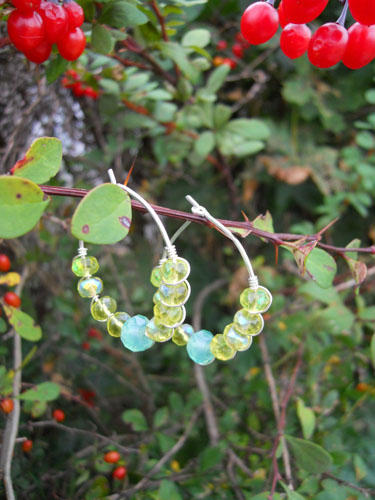 Faceted Green & Soft Blue Hoop Earrings